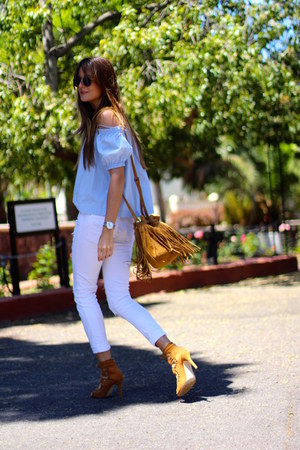 H&M top - pull&bear jeans - Ray Ban sunglasses