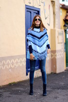 Menbur boots - Zara jeans - romwe cape