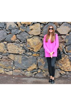 hot pink Zara sweater - black Zara shoes - black street level bag