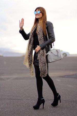 Mango scarf - Zara jacket - christian dior sunglasses - Mango skirt