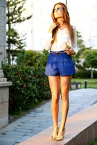 Sheinside shorts - Sheinside blouse - Mango heels