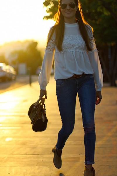 Stradivarius boots - suiteblanco jeans - Michael Kors bag - Sheinside blouse