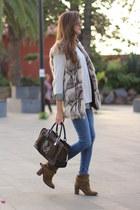 Choies vest - Zara boots - Zara sweater - loewe bag
