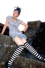 Gothic-lolita-dress-dress-hairpiece-hat-black-and-white-socks-socks
