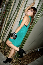 green Forever 21 dress - black bakers shoes shoes