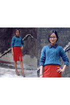 teal Bershka cardigan - black Yuan shirt - red Yuan skirt