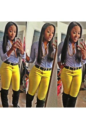 yellow Forever 21 pants - dark gray H&M boots - sky blue hollister blouse
