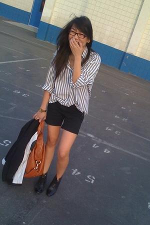 Diane Von Furstenburg blouse - black Zara shorts - Dolce Vita boots