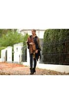 black Zign bag - black Zara heels - crimson Topshop cape