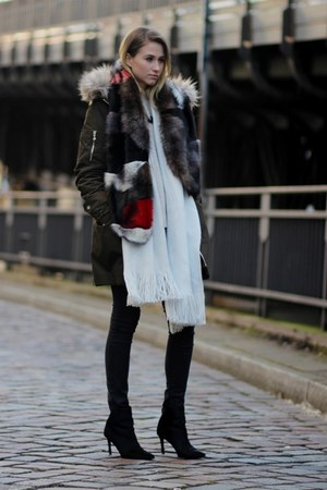 crimson asos scarf - black boots - black slim fit AG Jeans jeans