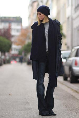 navy Ava Cashmere scarf - navy silk 31 Phillip Lim coat