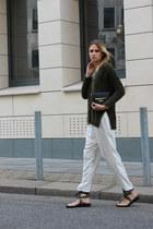 silk H&M Trend pants - H&M sweater - Zara bag - Zara flats - Topshop ring