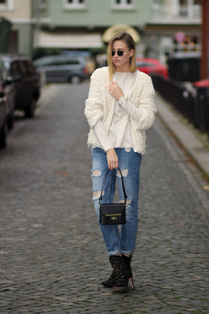 black London Retro glasses - blue Zara jeans - off white fringed IRO cardigan