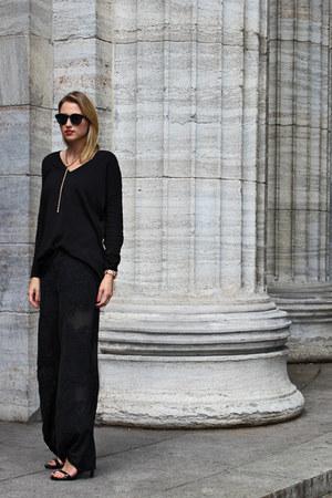 black Zara sweater - black River Island sunglasses - black Zara pants