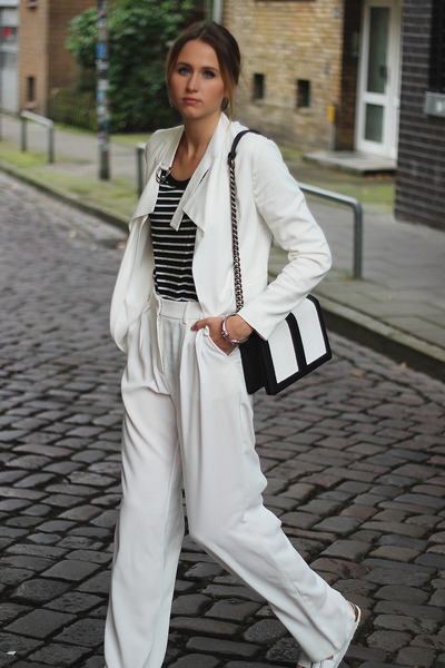 white Zara blazer - black H&M bag - white Mango pants - white Birkenstock flats