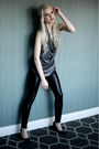 Charcoal-gray-silk-helmut-lang-top-black-faux-leather-h-m-pants