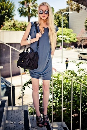 silver H&M bracelet - blue 31 Phillip Lim dress - mustard vintage scarf