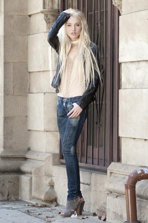 Belle by Sigerson Morrison heels - Current Elliott jeans - Ever Leather jacket