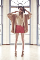 Zara coat - Urban Outfitters hat - Zara shorts - Super sunglasses - Equipment bl