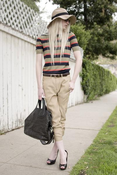 asos hat - Givenchy bag - Marc by Marc Jacobs top - vince pants - Aldo heels