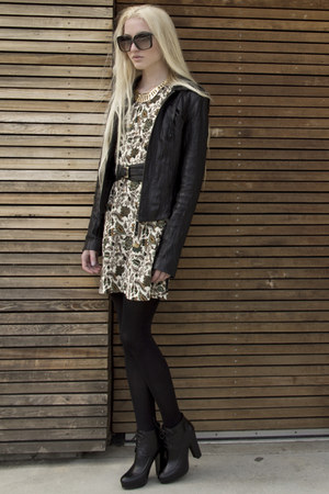 The Reformation dress - Kelsi Dagger boots - leather ever jacket