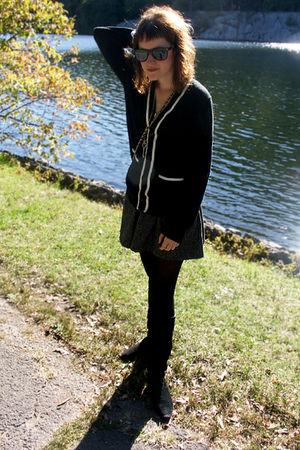 gray Aqua shirt - black Urban Outfitters sweater - black boots
