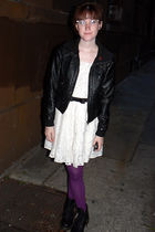 black H&M jacket - white Forever 21 dress - purple simply vera wang tights - bla