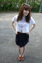 white Hanes top - blue American Apparel skirt - brown vintage shoes - gold Forev