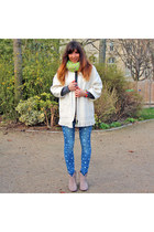 heather gray ASH boots - white Isabel Marant coat - sky blue Only jeans