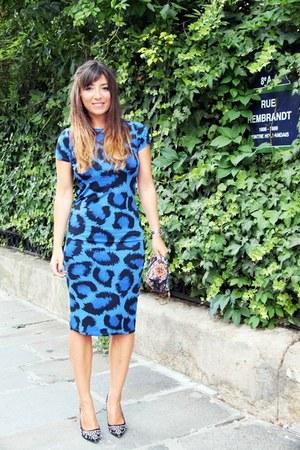 blue leopard print Topshop dress - salmon Antik Batik bag