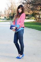 blue Valentino bag - navy JBrand jeans - pink Topshop jacket