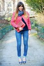 Blue-slim-léopard-mim-jeans-hot-pink-isabel-marant-jacket