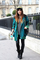 black Laurence Dacade boots - teal Heimstone jacket - black asos leggings
