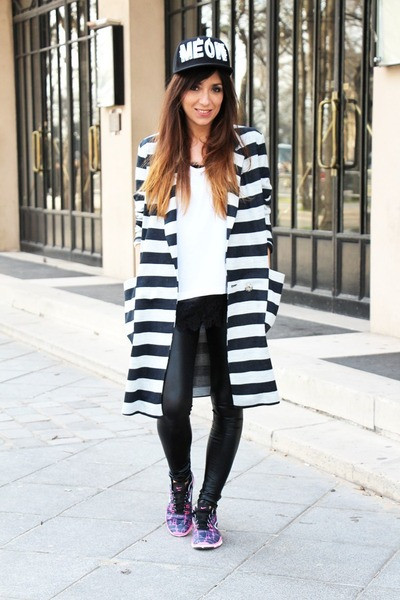 white asos blazer - black asos leggings - white Splendid top