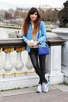 white La Redoute top - black La Redoute leggings - sky blue Topshop shirt