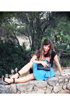 black Chanel bag - black from Dubai t-shirt - sky blue Topshop skirt