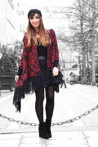 brick red Ralph Lauren cardigan - black Kurt Geiger boots - black asos skirt