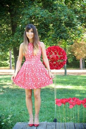 hot pink asos dress - red Valentino sandals - silver baume & mercier watch