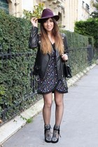 tan Ugg boots - black Isabel Marant boots - deep purple clo&se dress