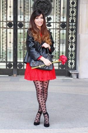 black maison martin margiela jacket - red asos dress - black asos tights