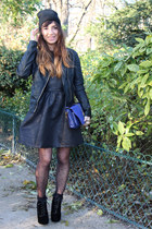 black Shellys London boots - black Pimkie dress - black Pimkie hat
