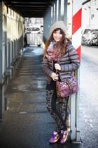 puce colmar coat - gray By Monshowroom leggings - amethyst Heimstone bag
