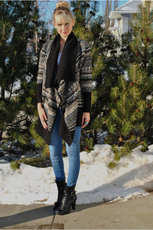 kensie cardigan - H & M leggings - Spring boots - H & M accessories