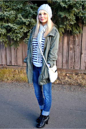 Aritzia top - olive green H&M jacket - blue Sirens jeans - black Spring boots -