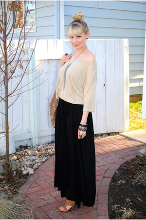 beige H&M sweater - H&M bracelet - tan Spring heels - black maxi H&M skirt - For