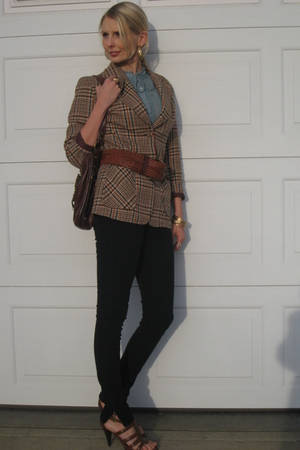 green vintage blouse - brown vintage blazer - black Zara pants - brown shoes - g