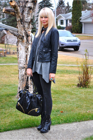 black winners jacket - heather gray H & M sweater - dark gray Zara leggings - bl
