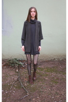 gray Anthropologie sweater - brown vintage boots - gray H&M dress