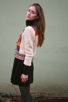 beige H&M sweater - black American Apparel dress - gray tights