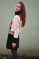 beige H&M sweater - black American Apparel dress - gray tights